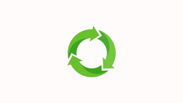 Recycle Icon Green Color with Shadows. Save The Planet. Animation with Rotating. Concept of Environment Protection. White Background