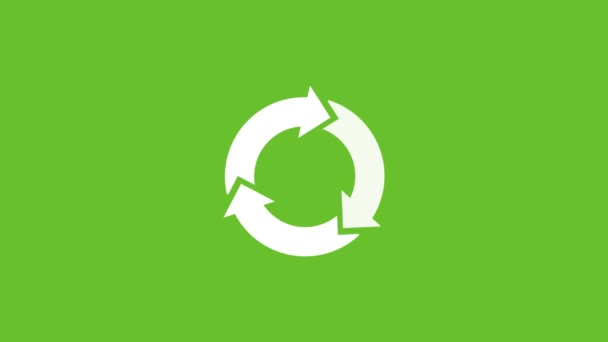 Recycle Icon White Color with Shadows. Save The Planet. Animation with Rotating. Concept of Environment Protection. Green Background