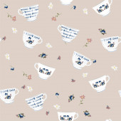 Fotografie Seamless pattern with hand drawn tea cups, tea leaves. Vector stock illustration. Elements for menu for restaurants and cafe. Black background.on pink background.