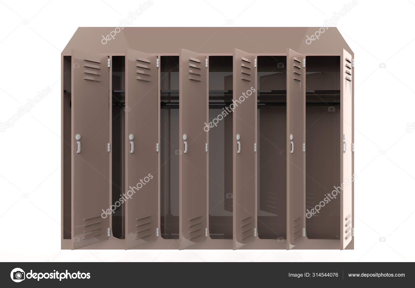 Metal Cabinets Open Door Lockers School Gym Silver Handles Locks Stock Photo C Designkida 314544076