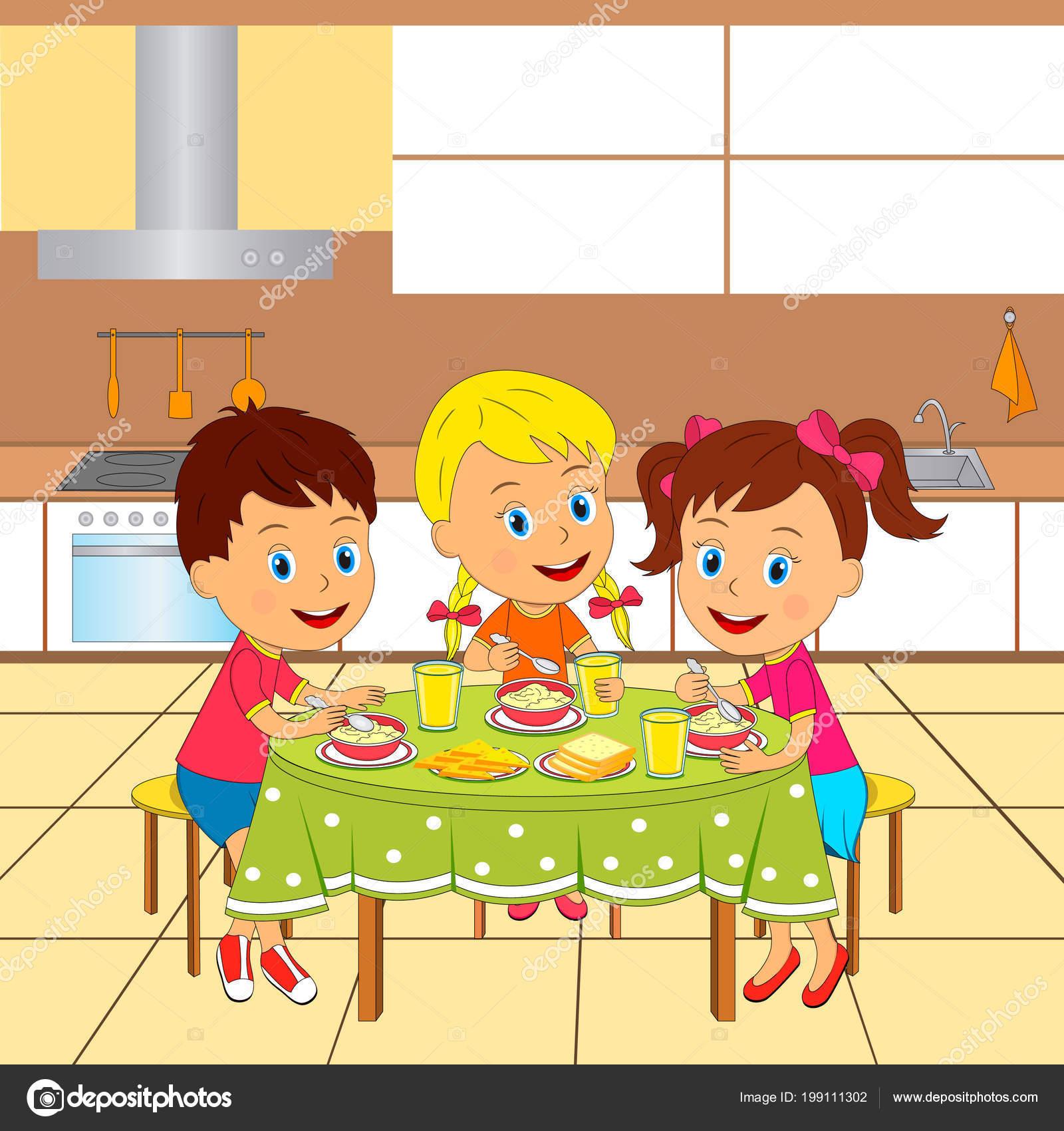 Kinder Jungen Und Mädchen Der Küche Tisch Sitzen Und Essen ...