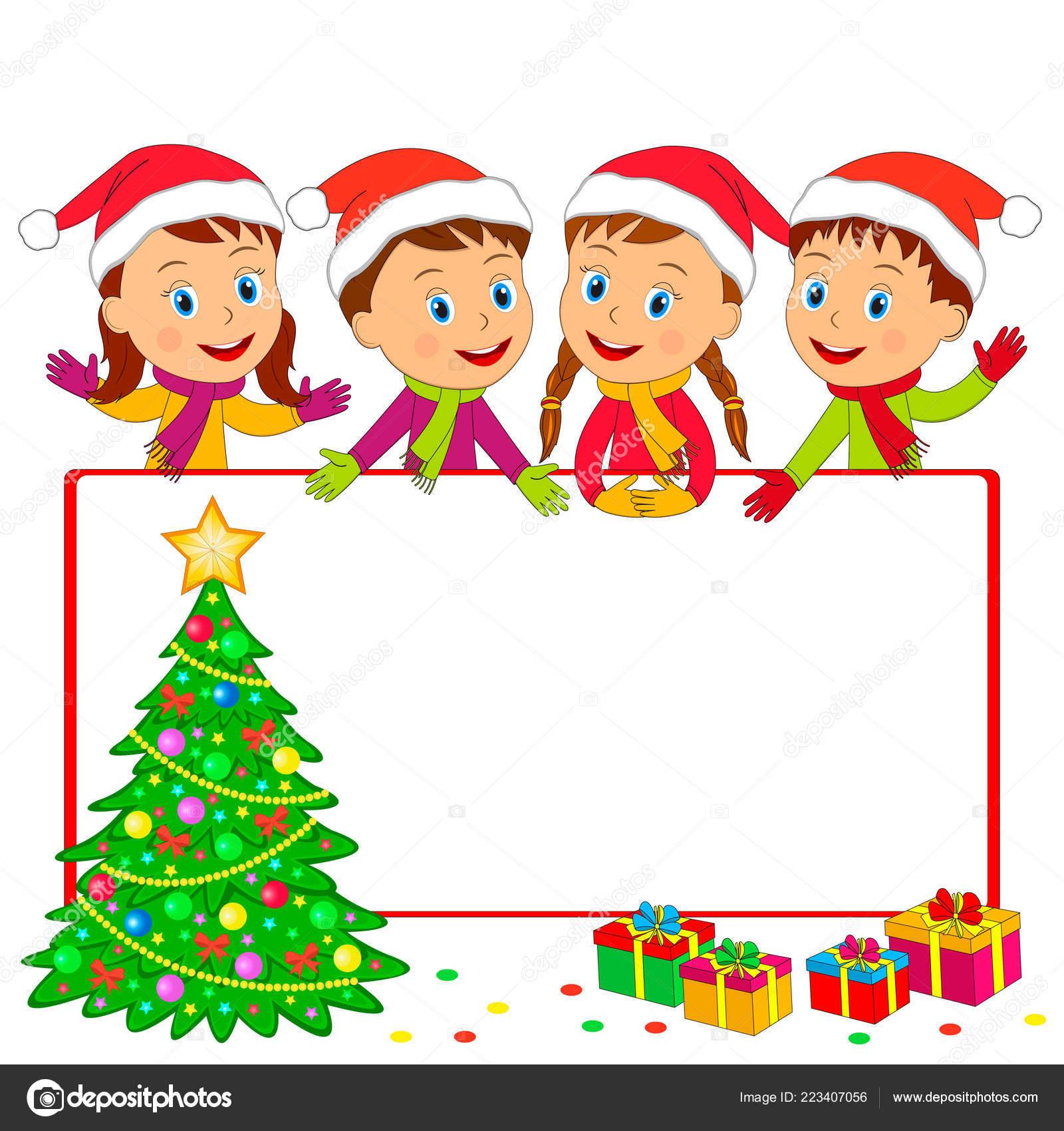 Kids Winter Frame Boys Girls Christmas Tree Gift White Background Vector Image By C Iris828 Vector Stock 223407056