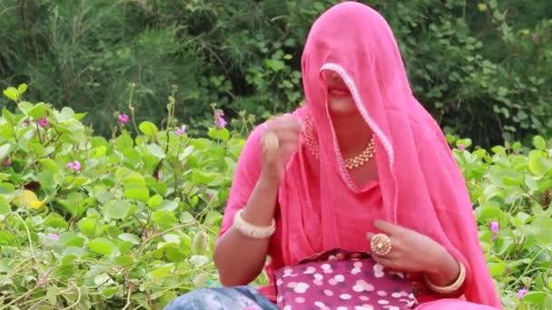 Eine schöne indische Frau sitzt im Garten, entsprechend ihrer Kultur und Religion, Rajputini schießen in rosa gekleidet und Entfernen des Schleiers zurück nach Hindu-Tradition
