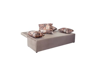 Beige brown soft sofa with large pillows, folding function