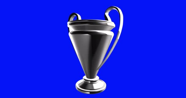 Generic league football soccer trophy rotating on a blue background
