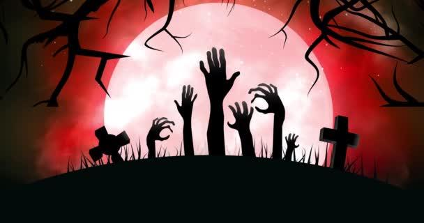 Halloween temető zombi kézzel jön ki a földről 4k