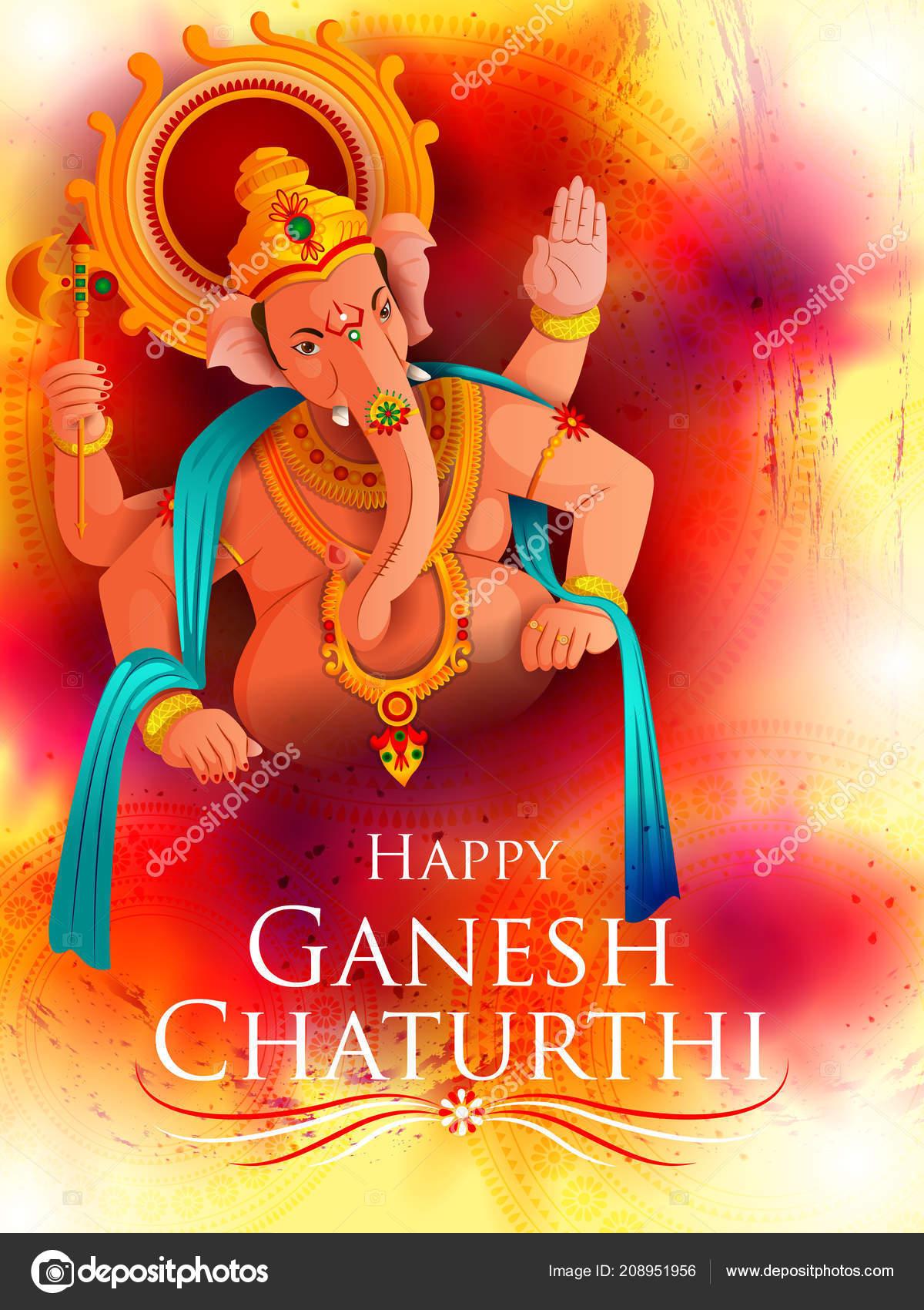 Lord Ganpati On Ganesh Chaturthi Festival Background Stock