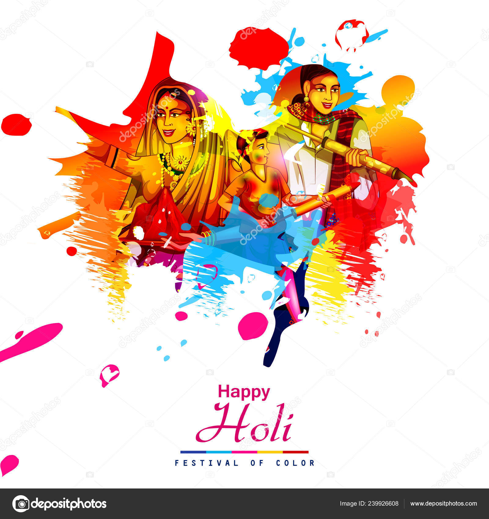 Vector Illustration Of Indian People Playing Colorful Happy Hoil
