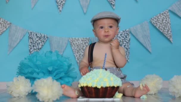 Little Baby Boy Celebrating His First Birthday Smash Cake Party Stock Footage