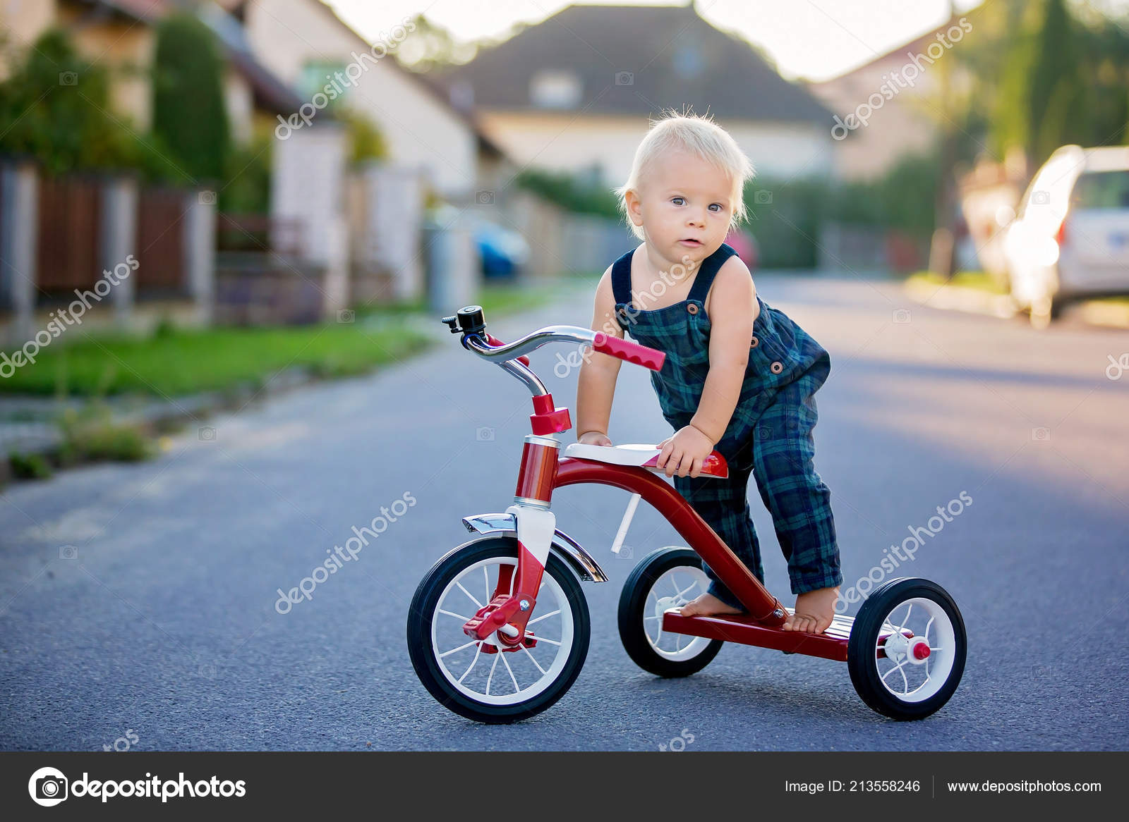 d70e2a72c3d Cute Toddler Child Boy Playing Tricycle Street Kid Riding Bike — Stock Photo