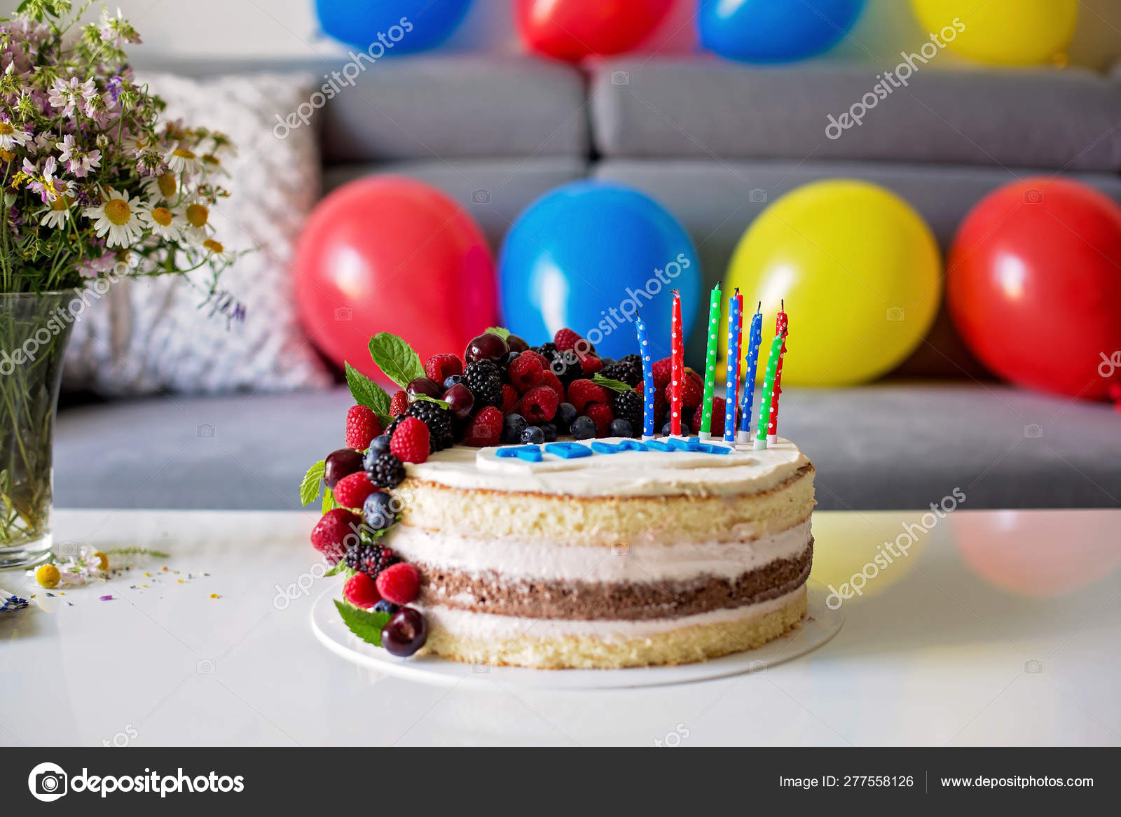 Brilliant Homemade Kids Birthday Cake With Lots Of Fruits On Top Cherries Funny Birthday Cards Online Sheoxdamsfinfo