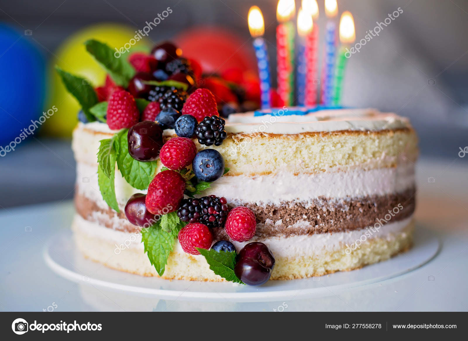 Excellent Homemade Kids Birthday Cake With Lots Of Fruits On Top Cherries Funny Birthday Cards Online Alyptdamsfinfo