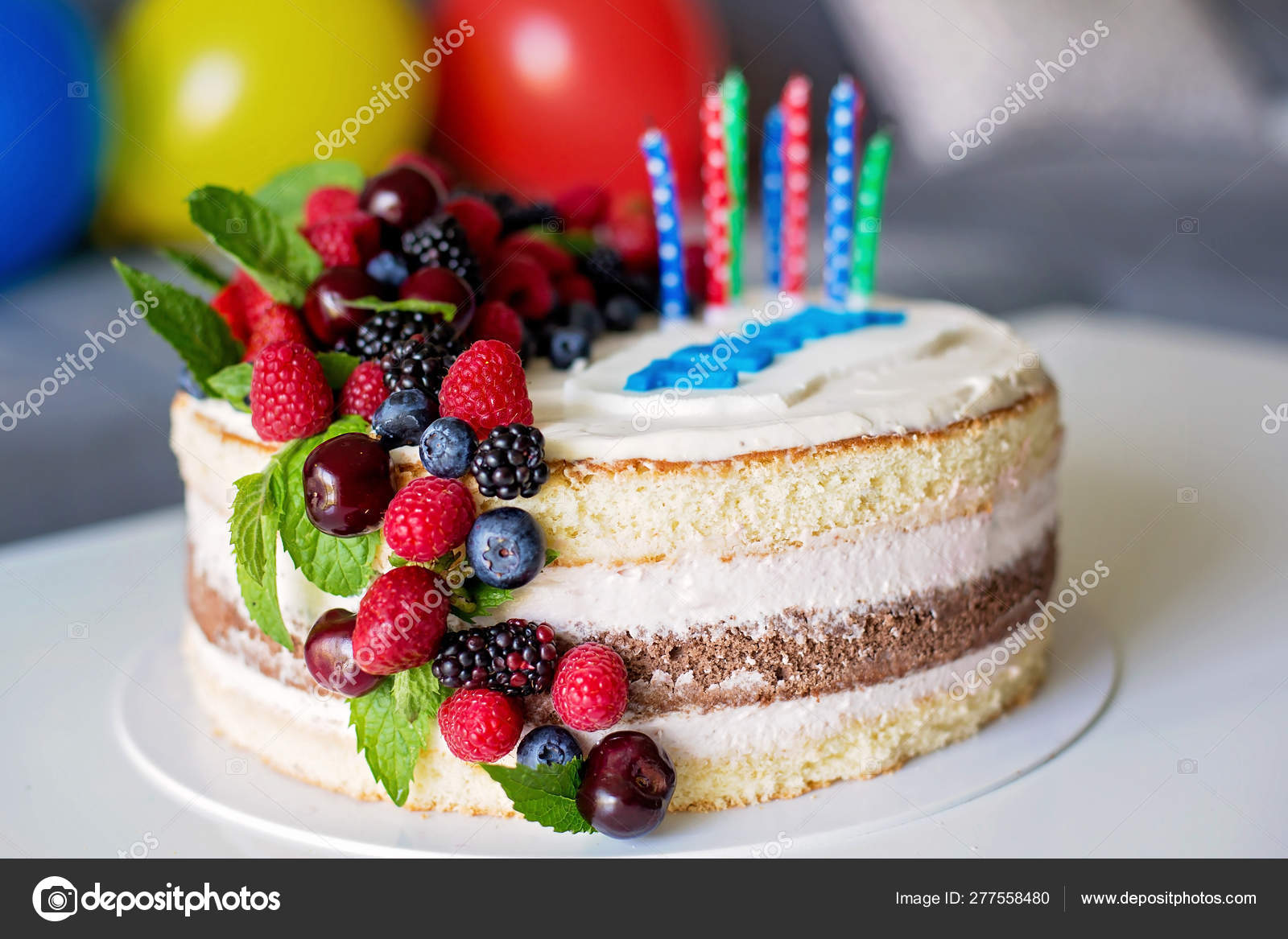 Awe Inspiring Homemade Kids Birthday Cake With Lots Of Fruits On Top Cherries Funny Birthday Cards Online Alyptdamsfinfo
