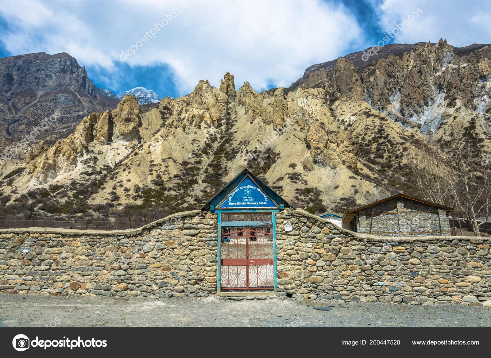 Braka Nepal April 2018 Eine Metall Tor Stein Zaun Der