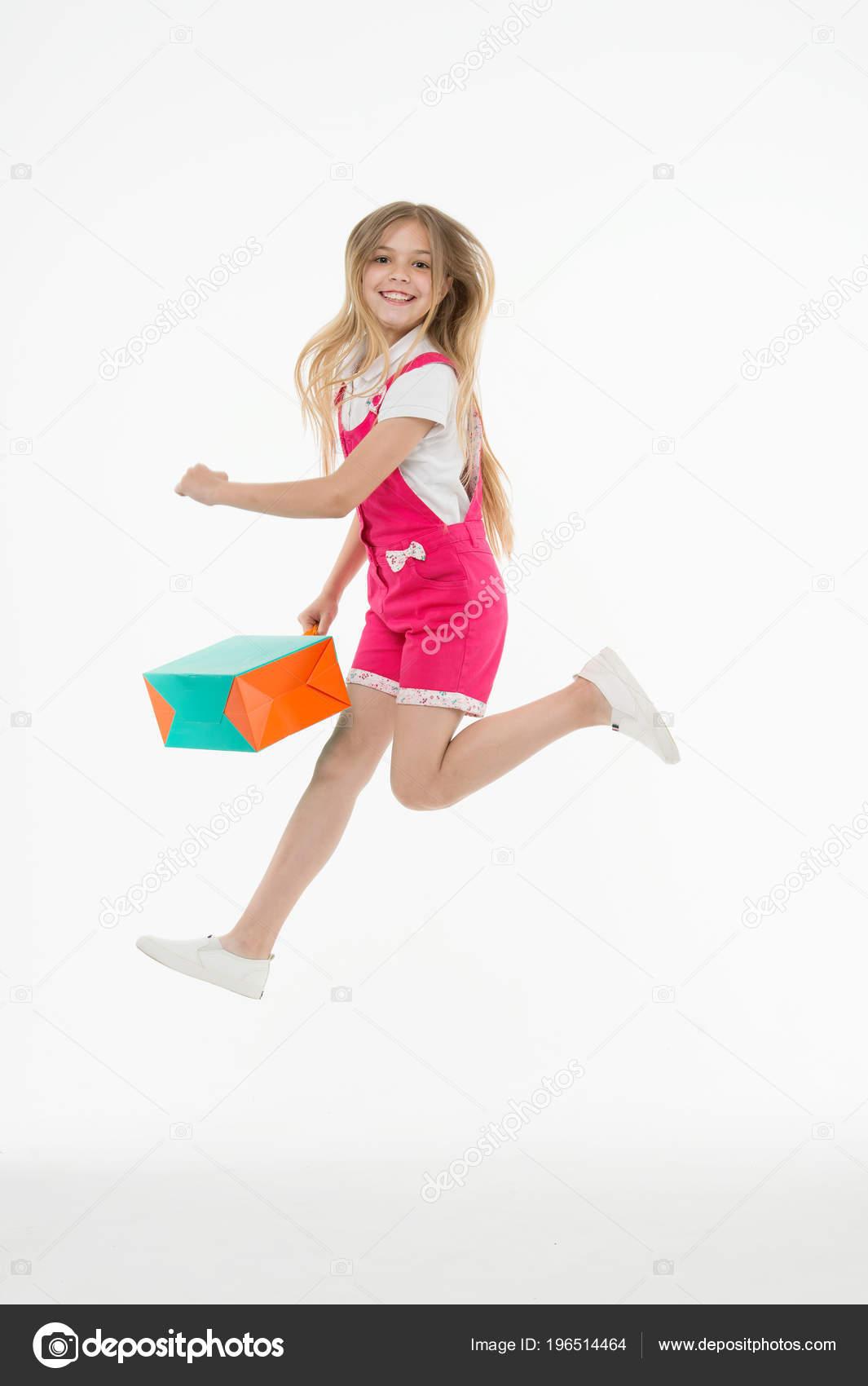 809970c5 Happy Girl Jump Shopping Bag Isolated White Little Child Smile — Stock Photo