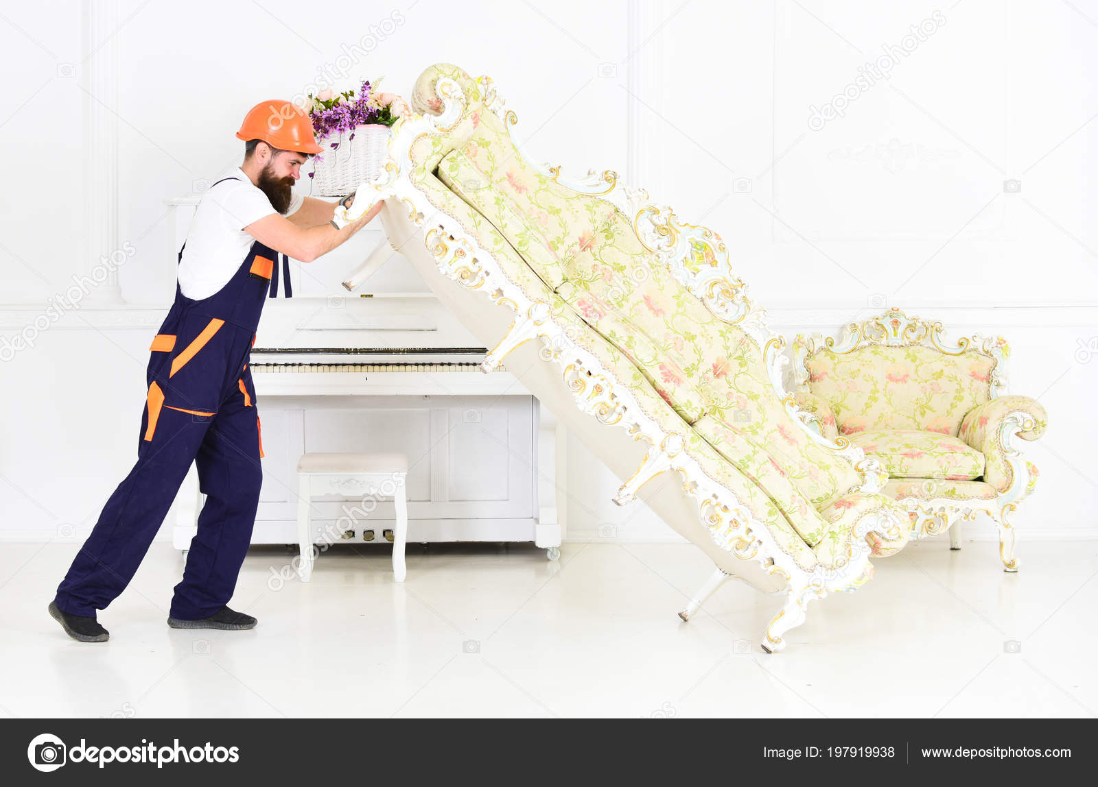 Astonishing Loader Moves Sofa Couch Man With Beard Worker In Overalls Andrewgaddart Wooden Chair Designs For Living Room Andrewgaddartcom