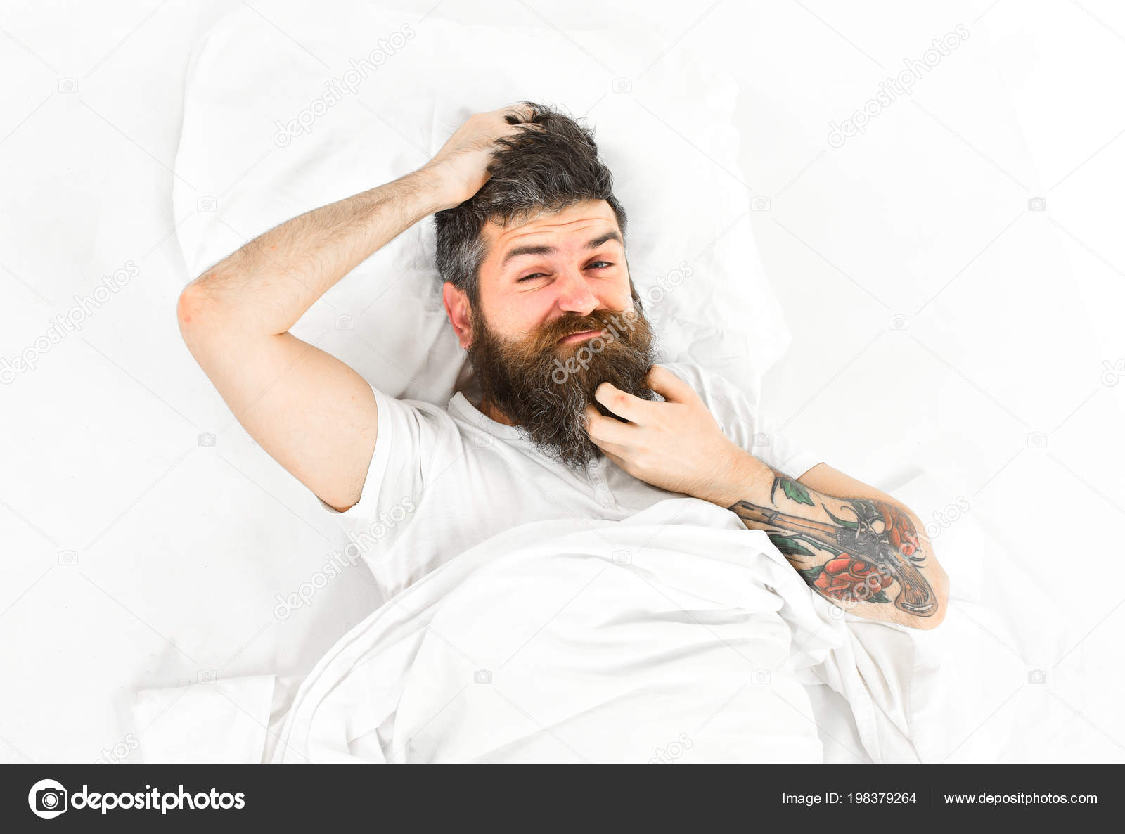Man with itchy face wake up, lay on bed, scratching — Stock