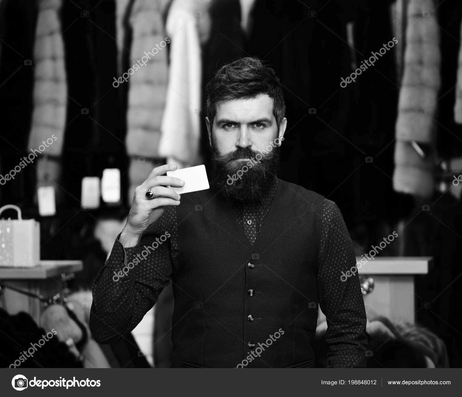 Guy Beard Business Card Businessman Empty Paper Man Confident Face ...