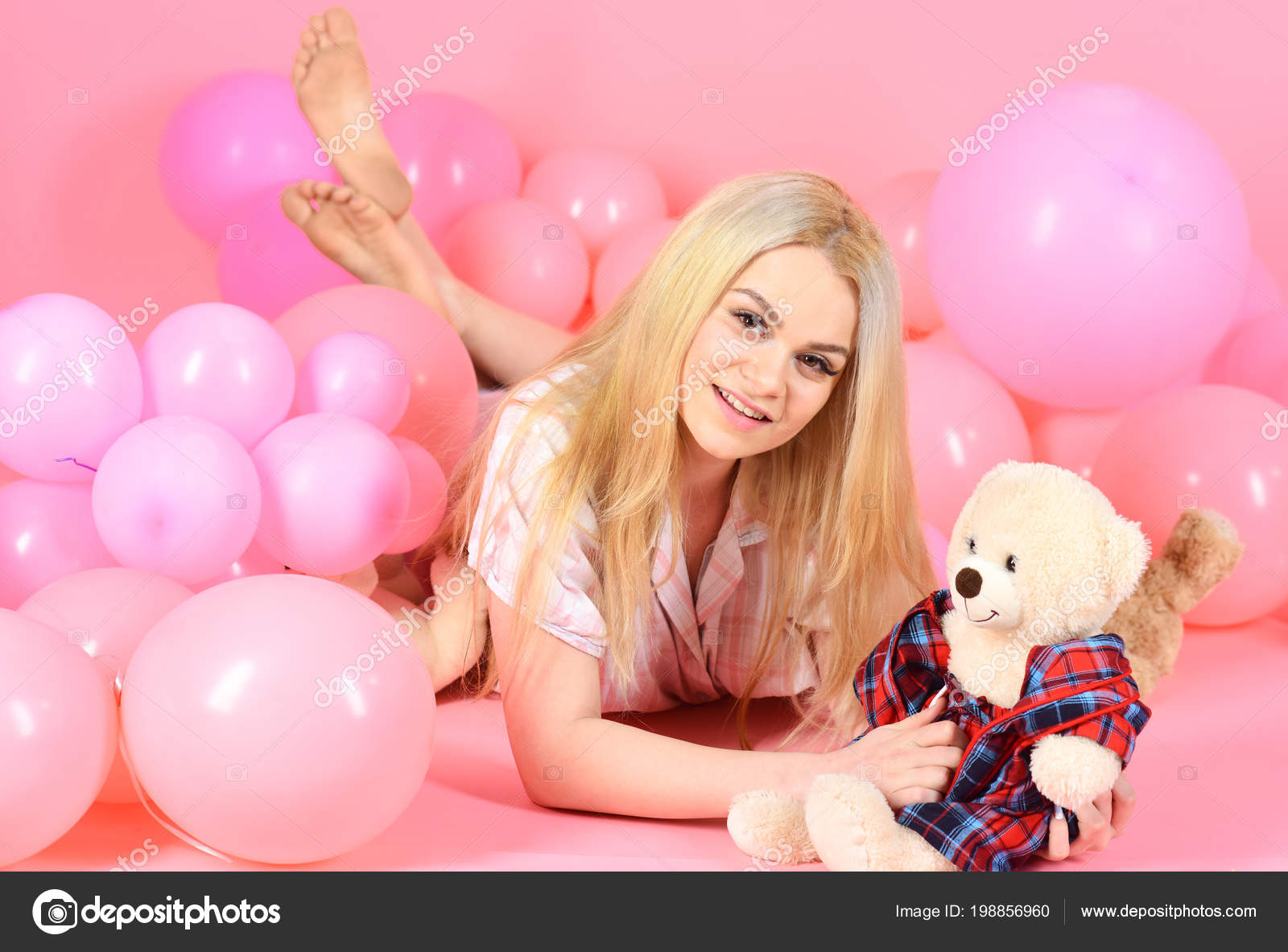 Think, blonde girl and toy