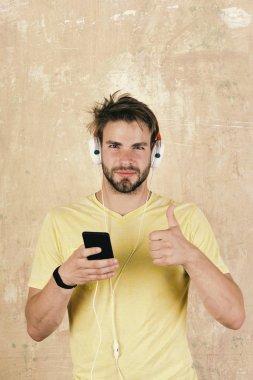 Dj music . European man have fun time.