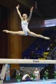 female gymnast performing during Stella Zakharova Artistic Gymnastics Ukraine international Cup