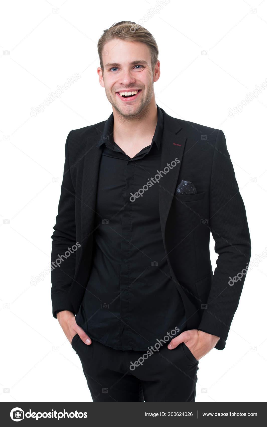 Business oblečení. Muž šťastný formální černé šaty bílé pozadí. Business  casual. Ležérní vzhled pro profesionální prostředí. ec36bdce4d3