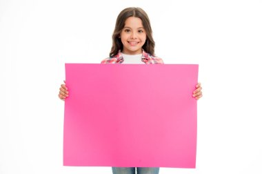 Happy girl with pink promo board isolated on white. Child smile hold empty poster for sale. place for an ad or announcement. Smiling beauty. Cute and adorable. Advertising your product, copy space