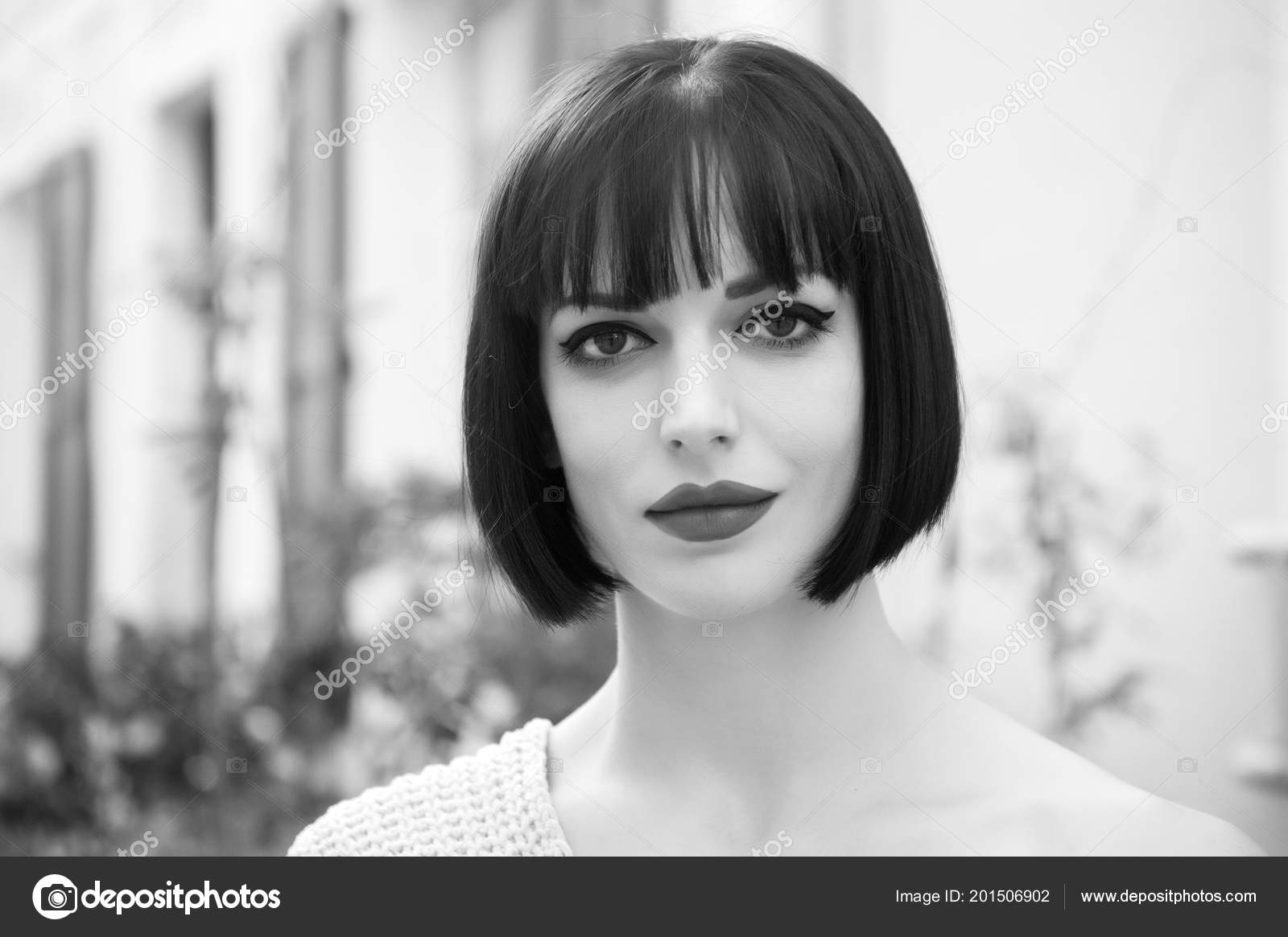Woman With Brunette Hair Red Lips Makeup Face In Paris Stock