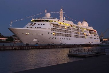 cruise ship in the night. luxury cruise. vacaton on cruise ship.