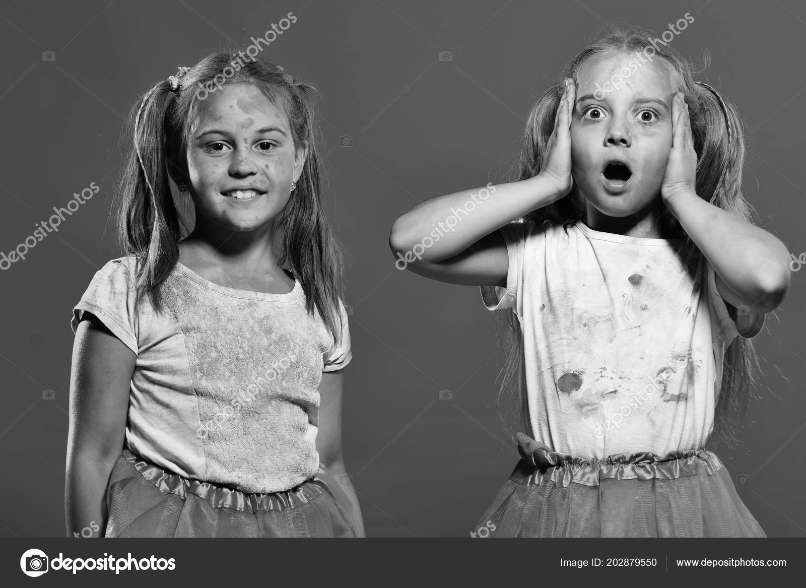 Kids with ponytails make art. Girls with confused and happy faces stand on red  background 81796aa1c