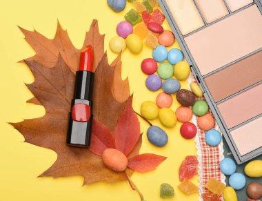 Beauty supplies, lipstick, palette, powder, rouge, concealer, top view.