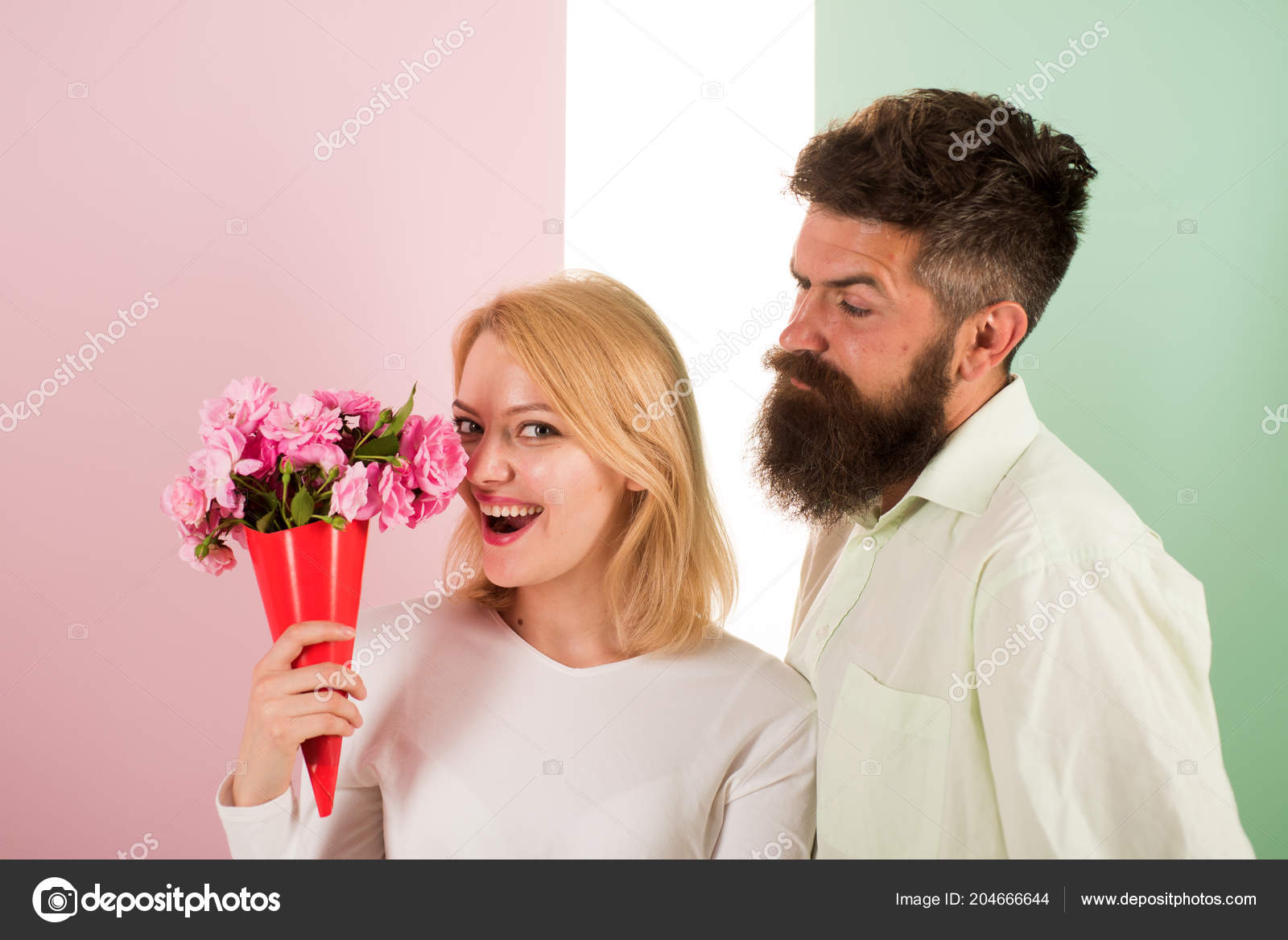 Woman Enjoy Fragrance Bouquet Flowers Man With Beard Takes Care About Girlfriend Happiness Lady