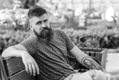Rest and relax concept. Bearded man with fresh haircut relaxing, urban background. Hipster enjoy sunny day in park. Man with beard and mustache on strict face sits on bench in park