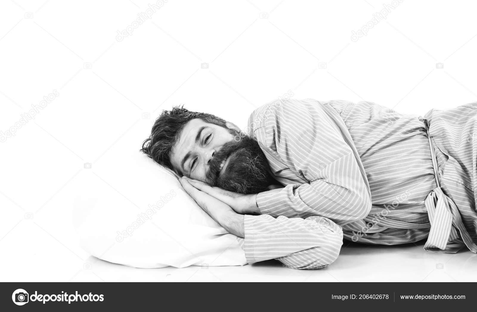 Mann Mit Bart Und Schnurrbart Aufwachen Im Bademantel