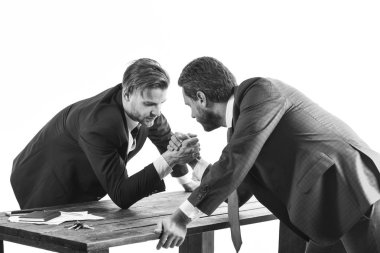 Business competition concept. Confrontation of business leaders. Men in suit or businessmen with serious face compete