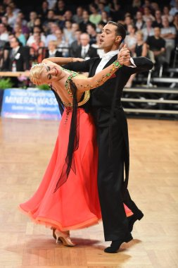 Stuttgart, Germany - August 15, 2015: An unidentified dance couple in a dance pose during Grand Slam Standart at German Open Championship, on August 15, in Stuttgart, Germany