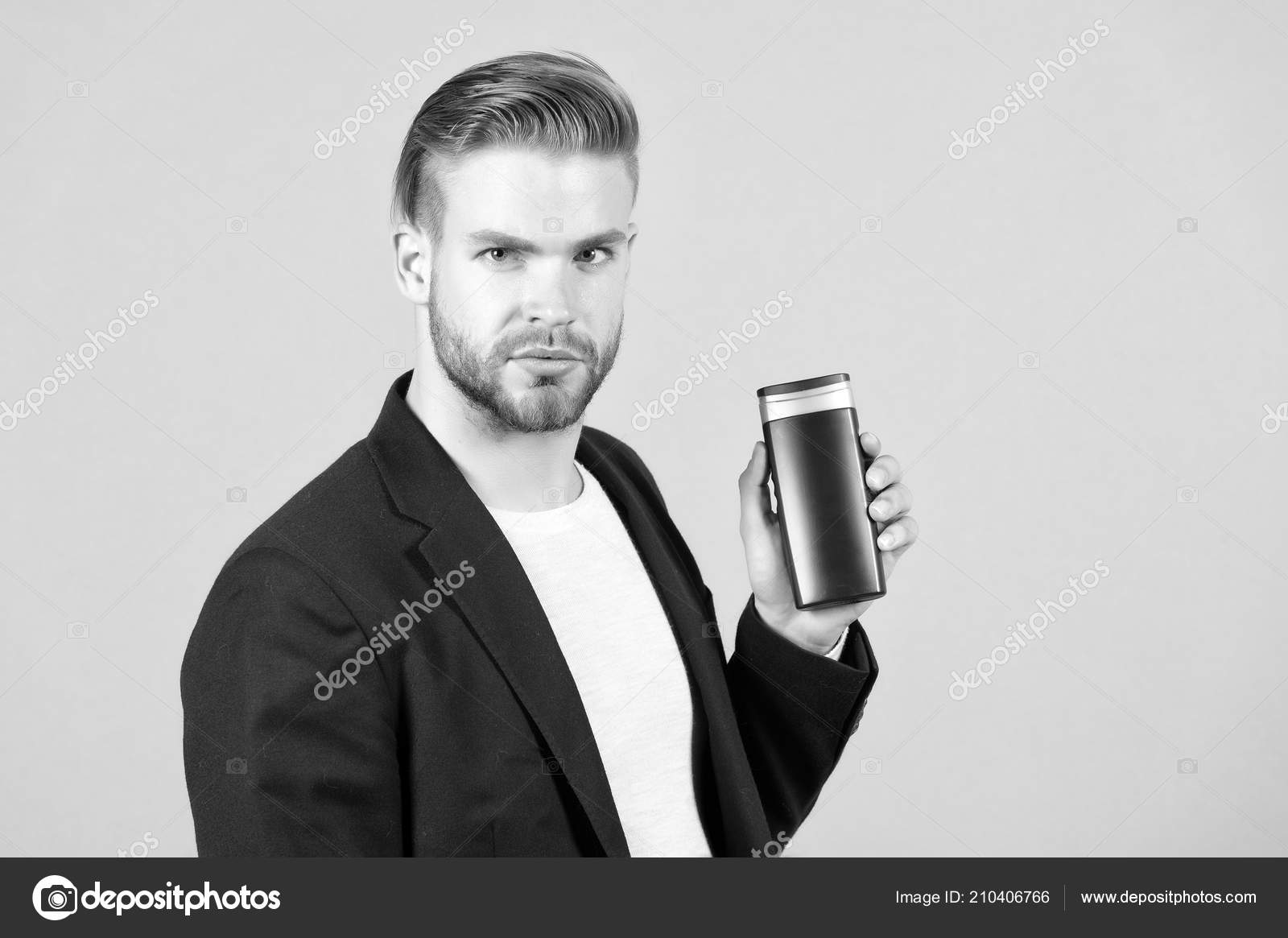 Manager With Shampoo Or Gel Bottle In Hand Bearded Man With Stylish