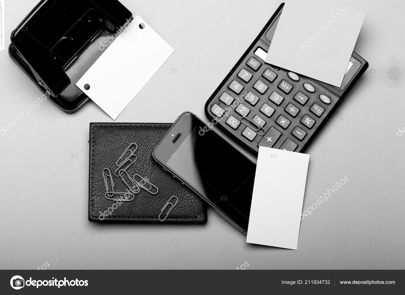 Briefpapier Geldbörse Handy Und Rechner Visitenkarten Mit