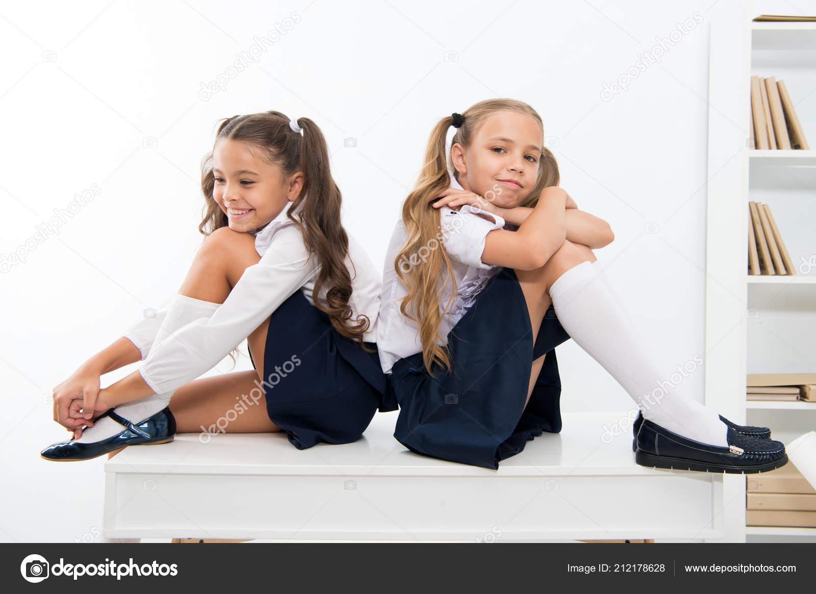School Break Concept Schoolgirls Cute Pony Tails Hairstyle Sit On
