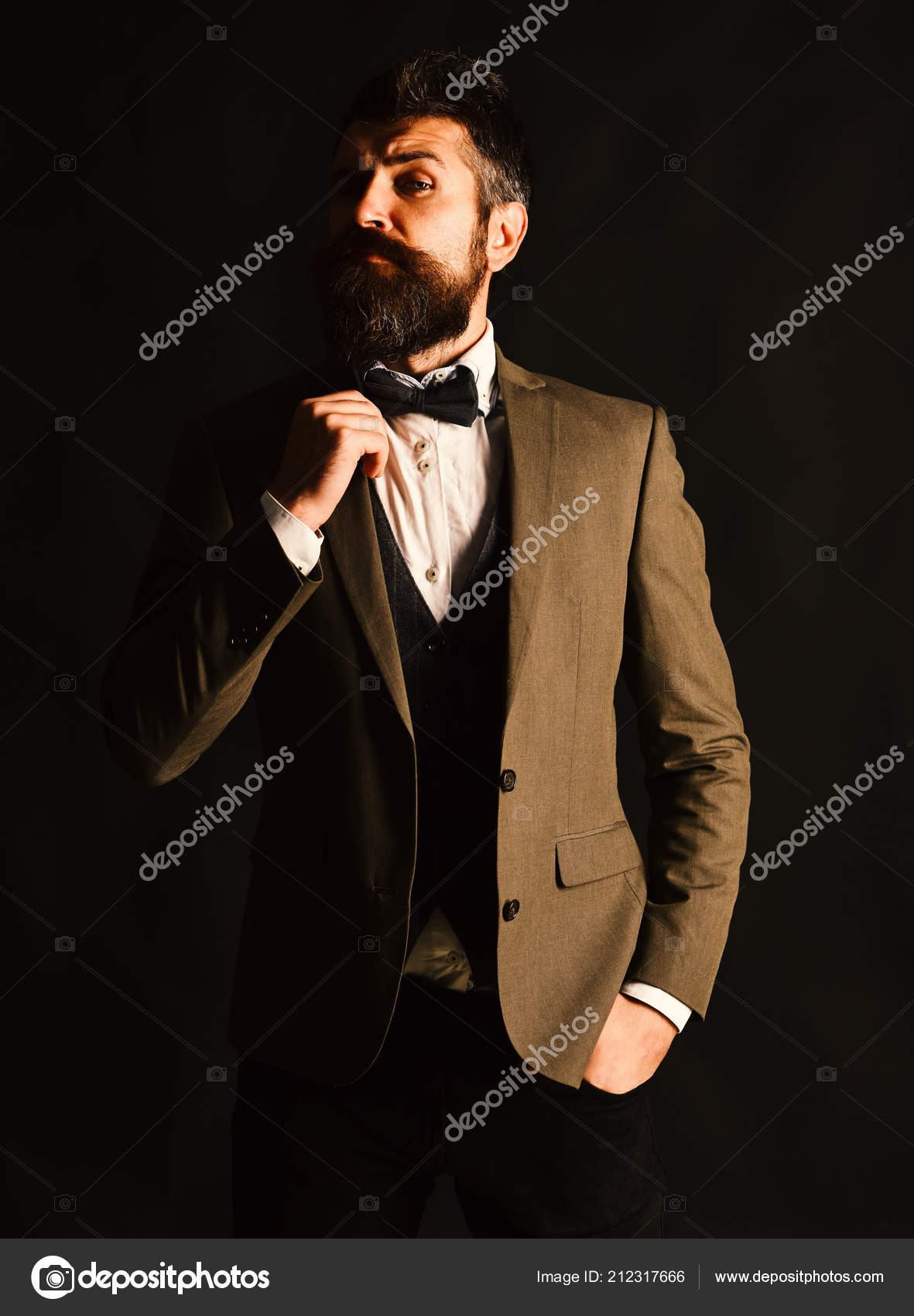 9f27a21c49b9 Manager or speaker with stylish beard and moustache. Businessman with  surprised face adjusts bow tie. Business and vintage style concept. Man in  retro smart ...