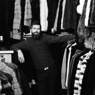 Macho in fashion store. Luxury style concept. Macho in fashion store.