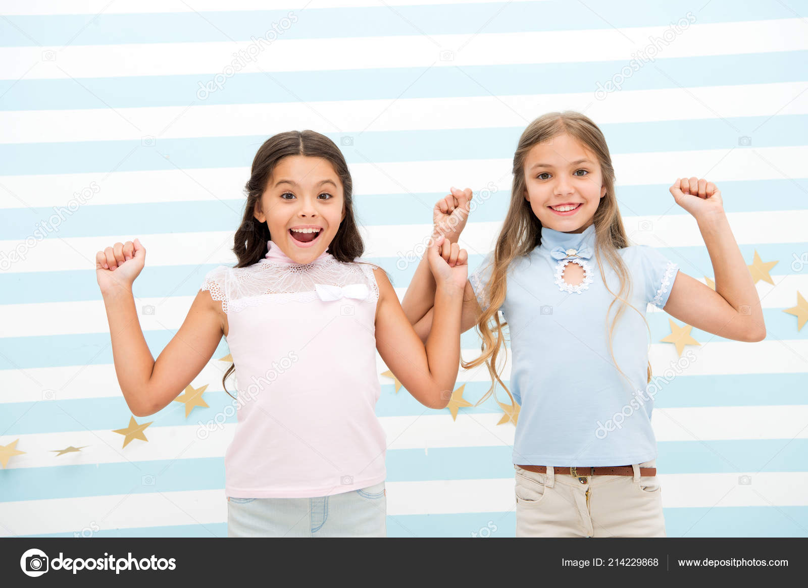 The Surprising News About Childrens >> Thrilled Moments Together Kids Schoolgirls Preteens Happy Together