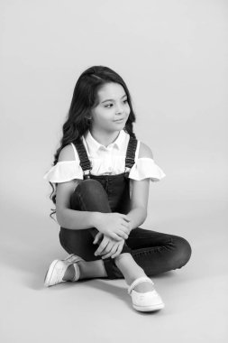 Beauty, look, hairstyle. black and white happy little girl