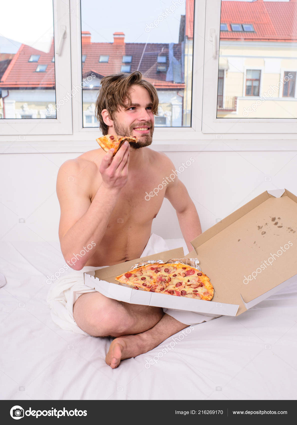 Food Delivery Service Man Bearded Handsome Bachelor Eating Cheesy For Breakfast In Bed Likes Pizza Guy Holds Box Sit