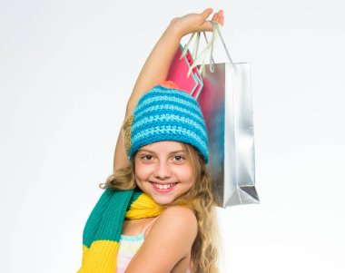 Fall sale season. Buy autumn clothes. Must have latest trends. Shopping with discount black friday sale. Big sale profitable deals. Black friday sale. Girl child knitted hat hold bunch shopping bags