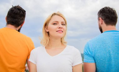 Girl stand in front two faceless men. Best traits of great boyfriend. How to pick better boyfriend. Girl thinking whom she going ask dating. Everything you need to know about choosing right guy