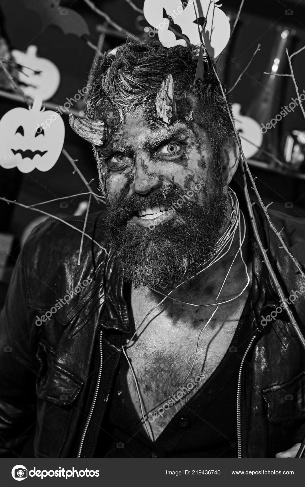 Scary Halloween Makeup For Guys With Beards.Halloween Costume Party Concept Devil Or Monster Partying