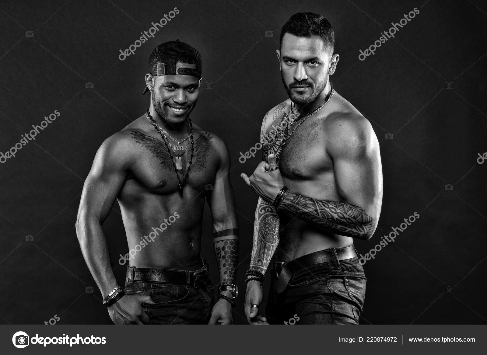 Mens Torso Tattoos Nice Tattoo Men Muscular Men With Fashionable Tattoo Style Sexy Men With Muscular Torso Brutal Macho Style Sexy And Attractive Black And White Stock Photo C Stetsik 220874972