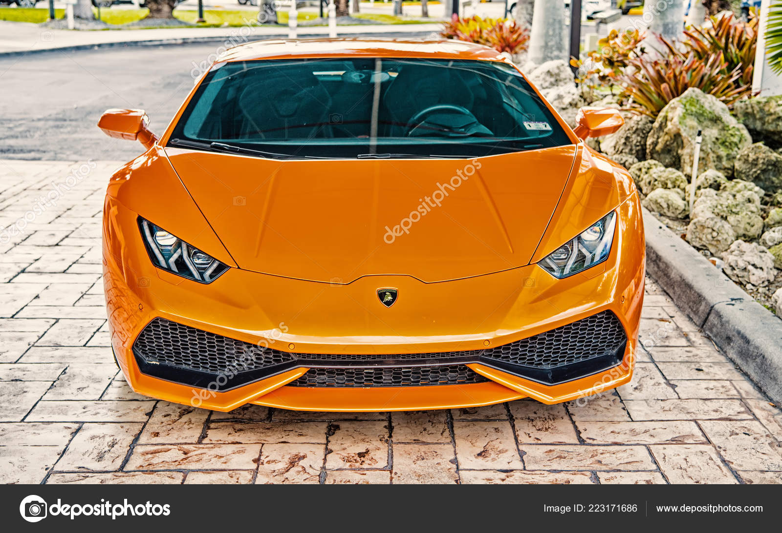 Supercar Lamborghini Aventador Orange Stock Editorial Photo