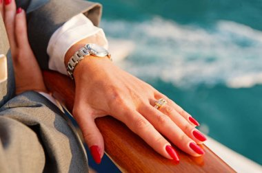Elegant female hands with Red manicure